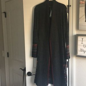 Charcoal Cardigan with red trim